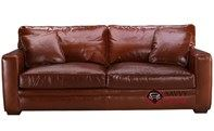 Houston Queen Leather Sleeper Sofa with Down-Blend Cushions by Savvy