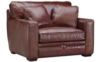 Savvy Houston Leather Chair with Down-Blend Cus...
