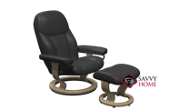 Consul Small Recliner and Ottoman by Stressless in Batick Black