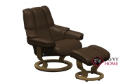 Reno Medium Recliner and Ottoman by Stressless in Paloma Chocolate Leather