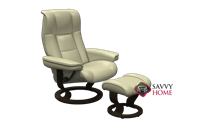 Chelsea Small Recliner and Ottoman by Stressless in Paloma Kitt Leather