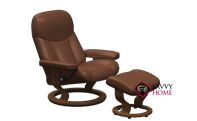Ambassador Large Recliner and Ottoman by Stressless in Batick Caramel Leather