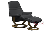 Sunrise Large Recliner and Ottoman by Stressless in Paloma Black Leather