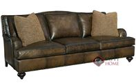 Fulham Leather Sofa with Down-Blend Cushions by Bernhardt in 282-052
