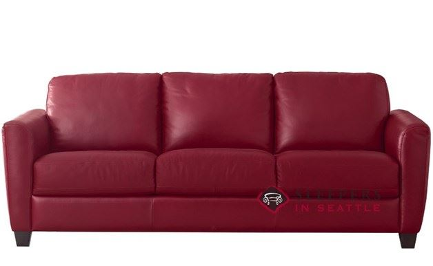 Natuzzi B592 Leather Sleeper in Denver Red (Queen)