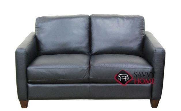 B591 Leather Loveseat shown in Belfast Black
