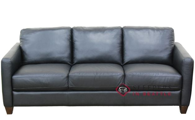 Natuzzi B591 Queen Leather Sleeper in Belfast Black (Queen)