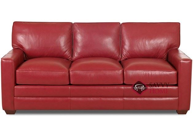 Palo Alto Queen Leather Sleeper shown in Durango Strawberry