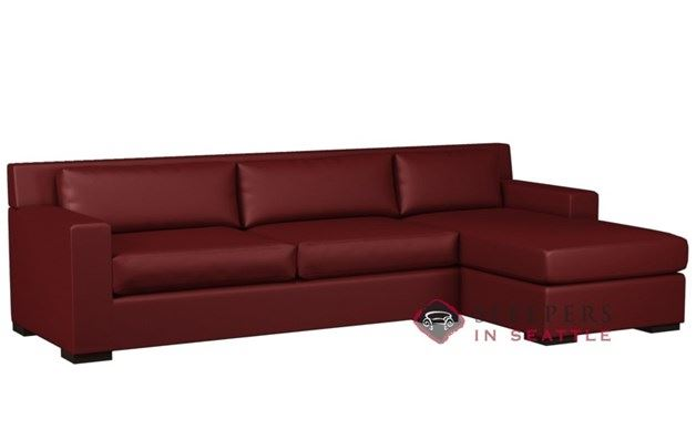 Lazar Corvo Leather Chaise Sectional with 2-Cushion Sleeper (Queen)