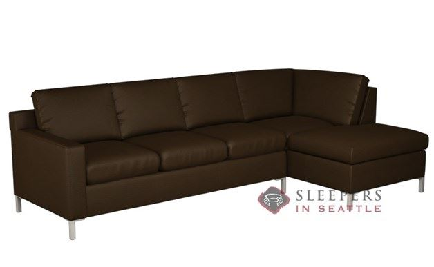 Lazar Soho Leather Chaise Sectional with 3-Cushion Sleeper (Queen)
