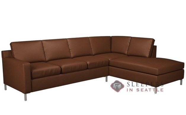 Lazar Soho Leather Loveseat Chaise Sectional with 3-Cushion Sleeper (Queen)