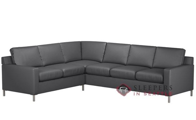 Lazar Soho Leather True Sectional with 3-Cushion Sleeper (Queen)