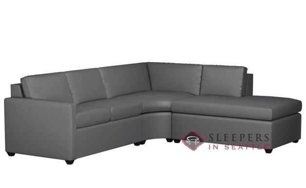 Terra Leather Chaise Sectional with Condo Queen Sleeper