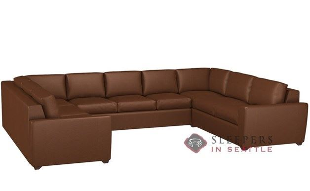 Lazar Geo Leather U-Sectional 3-Cushion Sleeper (Queen)