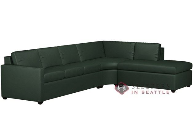Terra Leather Chaise Sectional with 3-Cushion Queen Sleeper