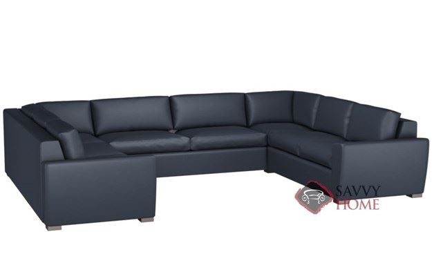 Geo U-Shape Leather True Sectional with 2-Cushion Condo Queen Sleeper by Lazar Industries