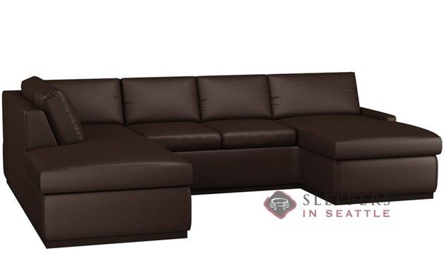 Terra Leather U-Shape Sectional with 2-Cushion Condo Queen Sleeper by Lazar Industries