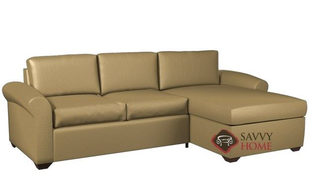 Eclipse Leather Chaise Sectional with 2-Cushion Condo Queen Sleeper by Lazar Industries