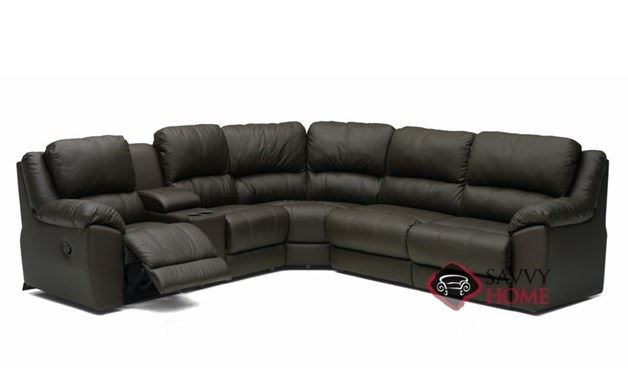 Benson Reclining True Sectional Leather Sleeper Sofa with Console