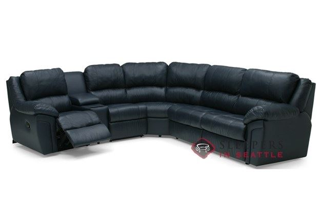 Palliser Daley Large Reclining True Sectional Leather Sleeper with Console