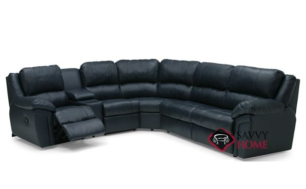 Daley Large Reclining True Sectional Leather Sleeper Sofa with Console