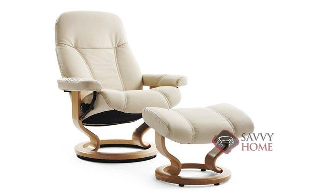 Consul Leather Recliner and Ottoman in Batick Cream