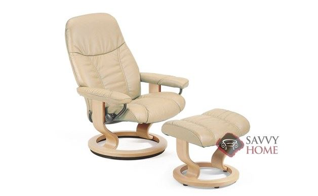 Consul Leather Recliner and Ottoman in Paloma Sand (formerly Diplomat)