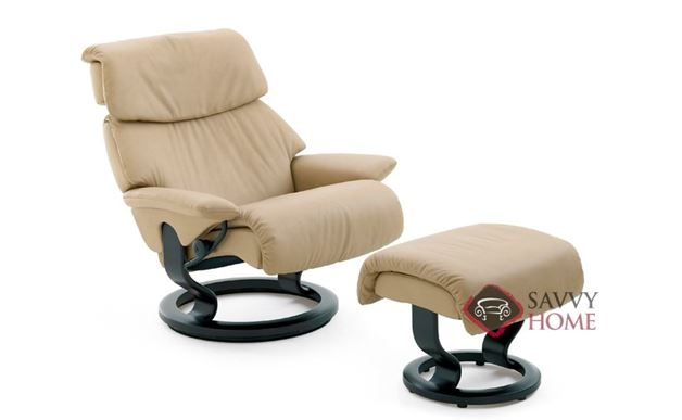 Dream Leather Recliner and Ottoman in Paloma Sand (formerly Vision)