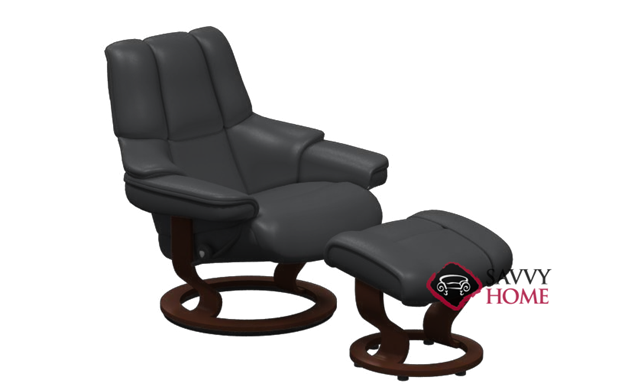 Reno Leather Recliner and Ottoman in Paloma Black
