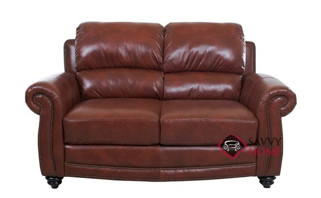Roslyn Leather Loveseat by Savvy in Alta Walnut