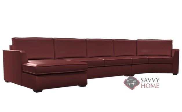 Strata  Leather Long Angled Chaise Sectional with 2-Cushion Condo Queen Sleeper by Lazar Industries