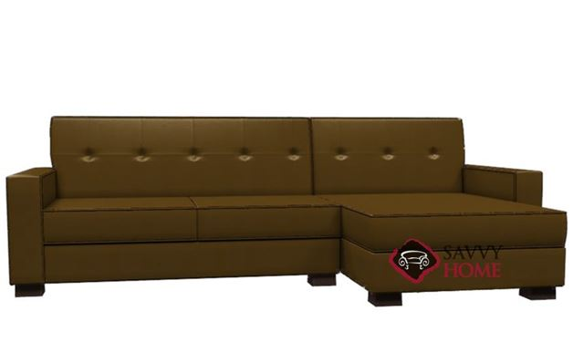 Nicole Leather Chaise Sectional Sofa by Lazar Industries