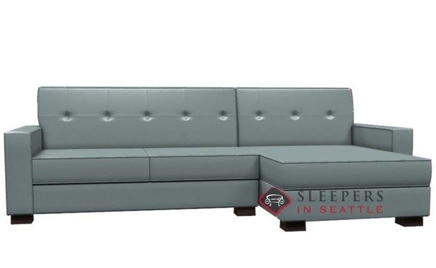 Lazar Nicole Leather Chaise Sectional Sleeper (Full)