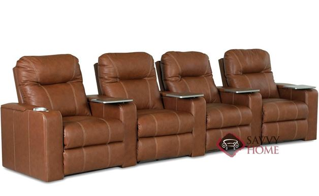 Pleasantville 4-Seat Leather Reclining Home Theater Seating (Curved)