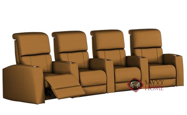 Hifi 4-Seat Leather Reclining Home Theater Seating (Curved)