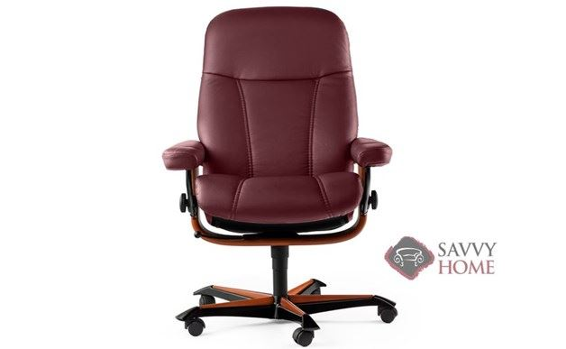 Consul Office Chair by Stressless in Batick Burgundy Leather with Natural Finish Base