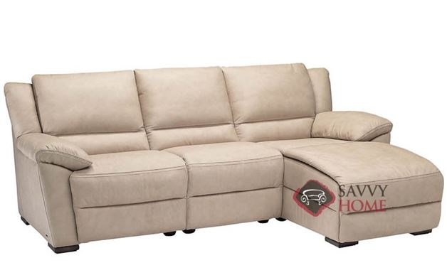 A319 Genoa Leather Chaise Sectional by Natuzzi