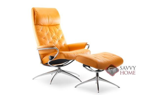 Metro High-Back Reclining Chair and Ottoman by Stressless