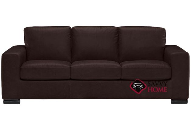 B534 Natuzzi Queen Sleeper Sofa shown in Belfast Dark Brown