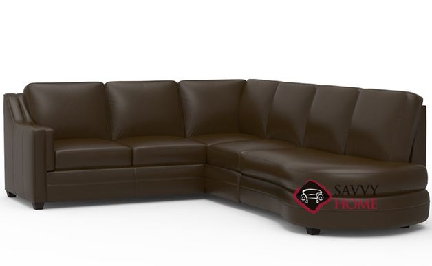 Corissa Leather Chaise Sectional Sofa with Angled Bumper by Palliser