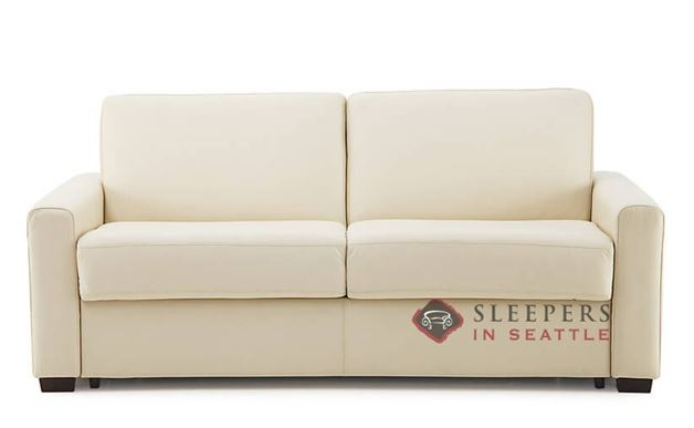 Palliser Roommate My Comfort Leather Sleeper Sofa in Broadway Alabaster