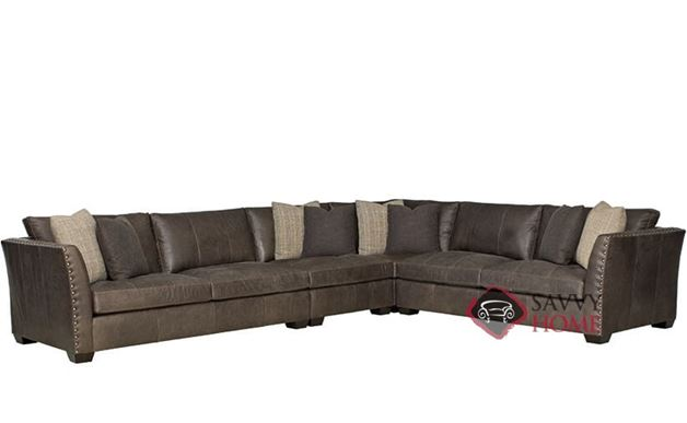 Brinton Leather True Sectional with Down-Blend Cushions by Bernhardt in 295-021