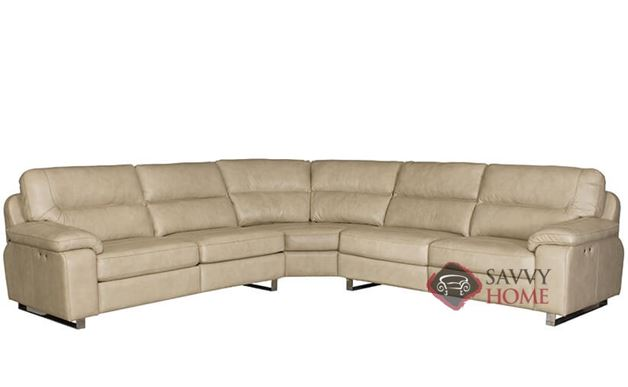 Ivan Power Reclining Leather True Sectional Sofa With Down