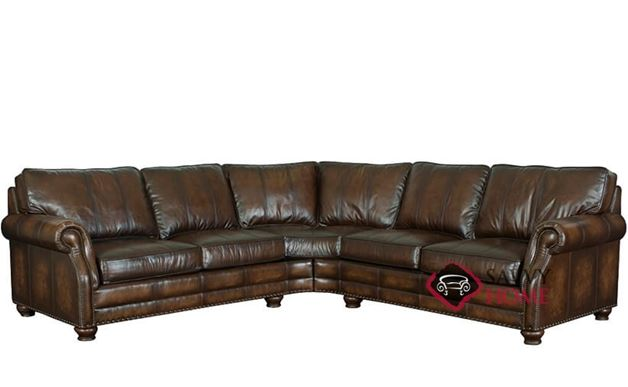 Princeton Leather True Sectional With Down Blend Cushions