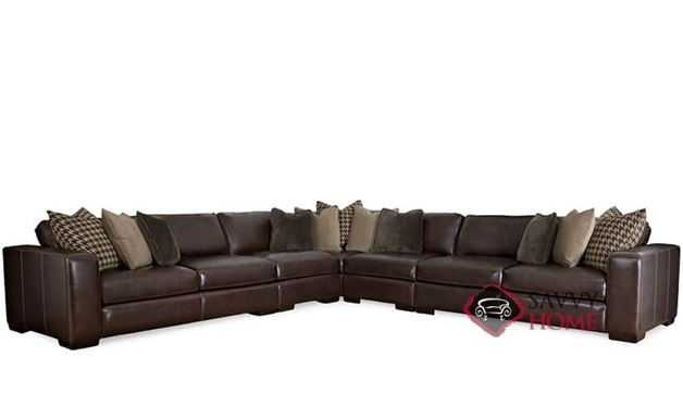 Dorian Leather True Sectional with Down-Blend Cushions by Bernhardt in 239-022