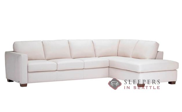 Natuzzi Editions B735 Chaise Sectional Leather Sleeper Sofa