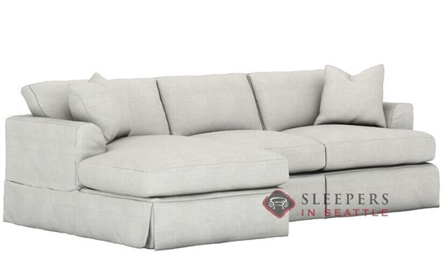 Savvy Berkeley Chaise Sectional Sleeper Sofa with Slipcover (Queen)