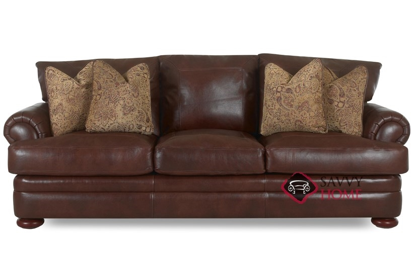 Montezuma Leather Sofa with Down Blend Cushions by Klaussner. Klaussner Leather Furniture   Leather Furniture by Klaussner