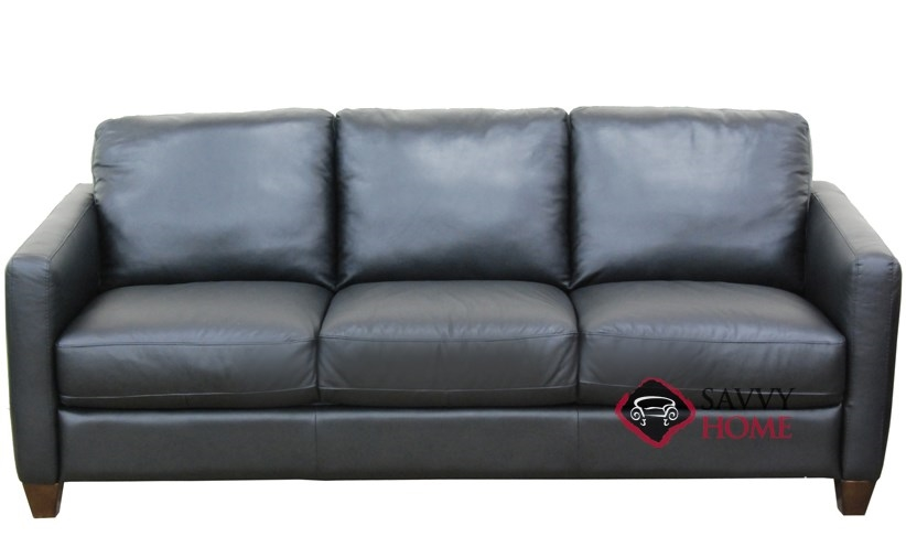 B591 Leather Sofa shown in Belfast Black