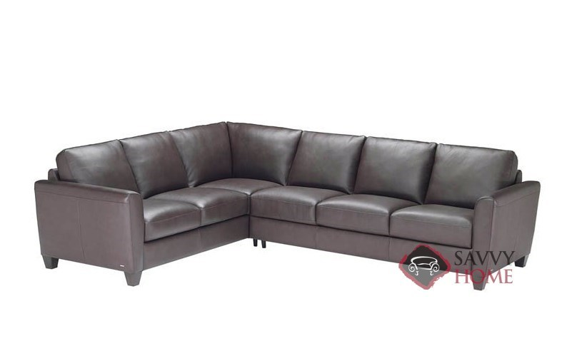 Liro leather true sectional with queen sleeper sofa by for Natuzzi sectional sleeper sofa